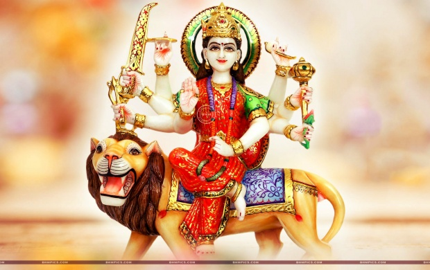 Goddess Durga Seated On Lion (click to view)