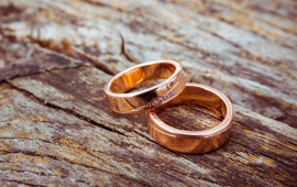Gold Engagement Rings Wood Bacground