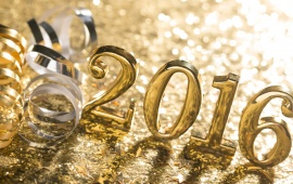 Gold New Year 2016 Bokeh