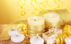 Gold Ribbons And Holiday Gifts