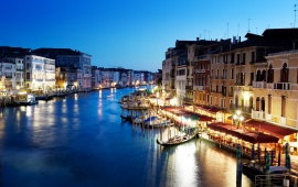 Grand Canal In Venice Italy At Sunset