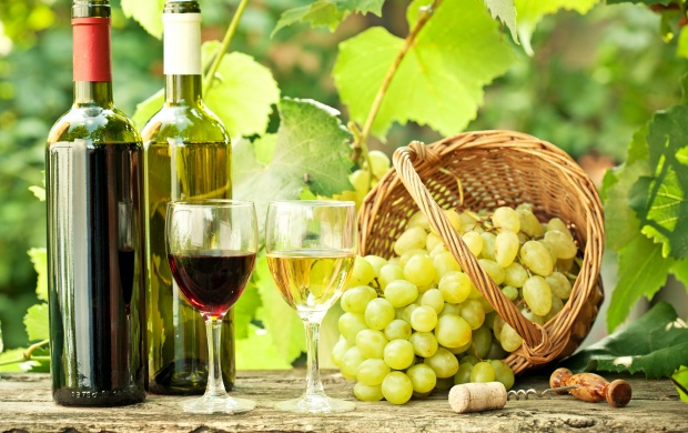 Grapes Basket And Wine Bottles (click to view)