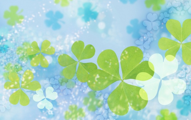 Green Leafs on Blue Background (click to view)