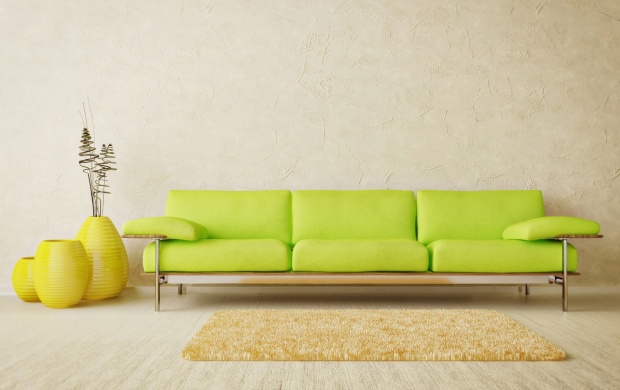 Green Sofa And Yellow Carpet In Room (click to view)