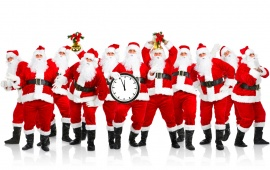 Group of Santa Clouse