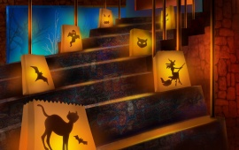 Halloween Decorated Stairs