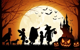 Halloween Pumpkin Castle Moon Bats Kids
