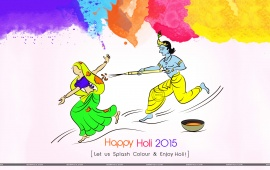 Happy Colorful Festival Holi 2015