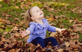 Happy Girl Autumn Leaves