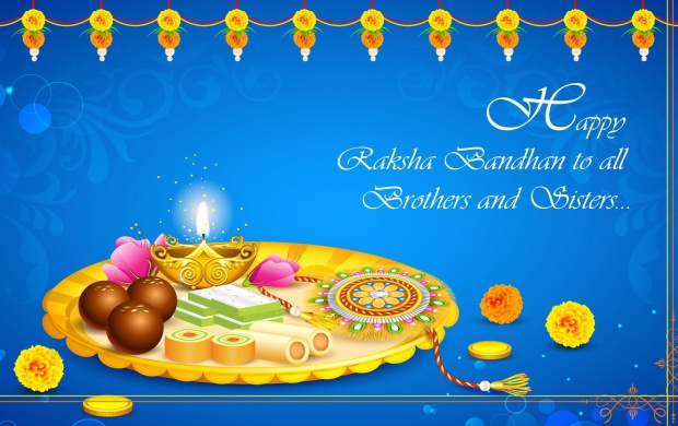 Happy Raksha Bandhan Decorated Puja Thali Wallpapers