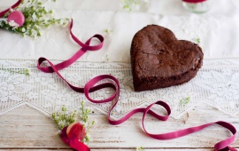 Heart Cake And Love Ribbon