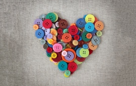 Heart Colorful Buttons Love