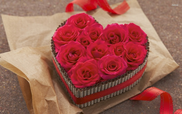 Heart Shaped Box With Roses (click to view)