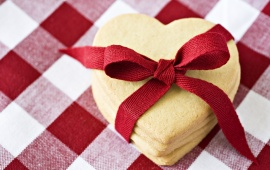 Heart Shaped Cookies With Red Ribbon