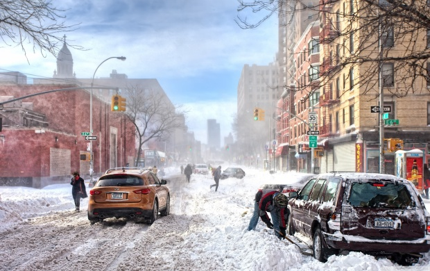 Heavy Snow on New York Streets (click to view)