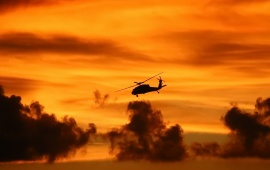 Helicopter Evening Sky