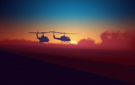Helicopters Sky Background