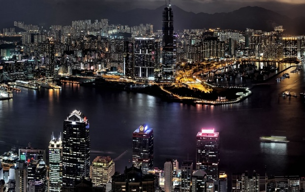 Hong Kong Buildings And River (click to view)
