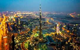 Horizon Burj Khalifa Street Night Lights