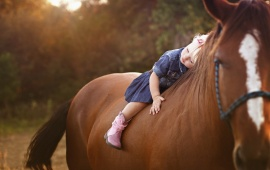 Horse Sweet Blonde Child