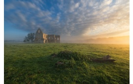 House Ruin On Misty Field