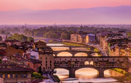 Italy Florence Arno River Bridge Houses