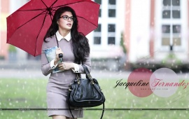 Jacqueline Fernandez With Red Umbrella