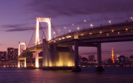 Japan Night Bridges Lights