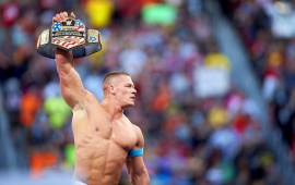 John Cena Victorious In Ring With Belt