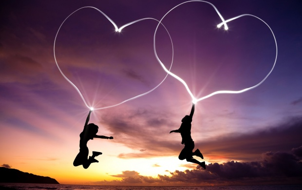 Jump Girl And Boy Love Hearts (click to view)