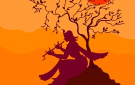 Krishna Playing Flute Under Tree