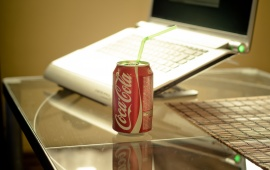 Laptop And Coca Cola Can