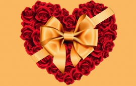 Large Rose Heart with Gold Bow