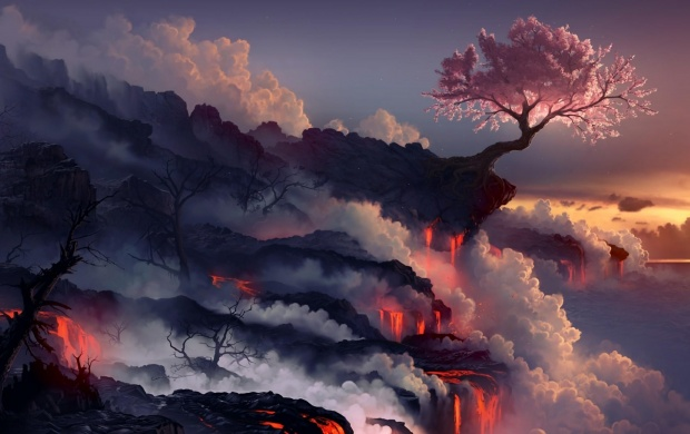 Lava Flowing on a Mountain (click to view)