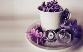 Lilac Flowers In Mug And Watch