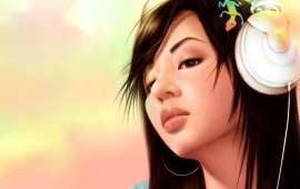 Listening Music Anime Girl