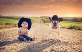 Little Boy With Bull Dog