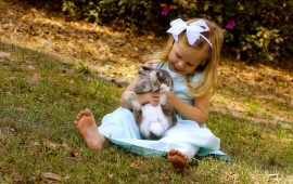 Little Girl And Rabbit