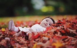 Little Girl Sleeping On Leaves