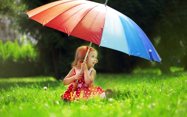 Little Girl With A Rainbow Umbrella (click to view)