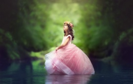Little Princess Girl In River