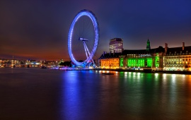 London Eye And River Thames