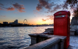London Skyline With Telephone Booth