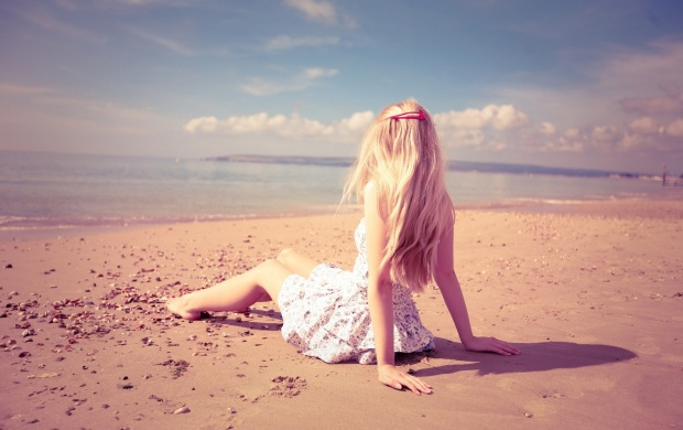 Lonely Blonde Girl on the Beach (click to view)