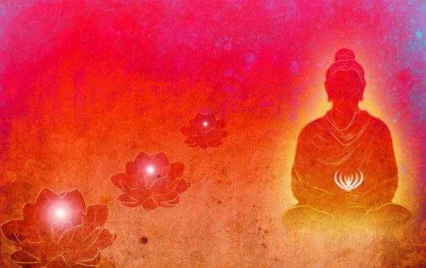 Lord Buddha Red Background Wallpapers