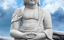 Lord Buddha Statue Sky Clouds