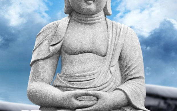 Lord Buddha Statue Sky Clouds (click to view)
