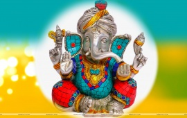 Lord Ganesh Statue Abstract Background