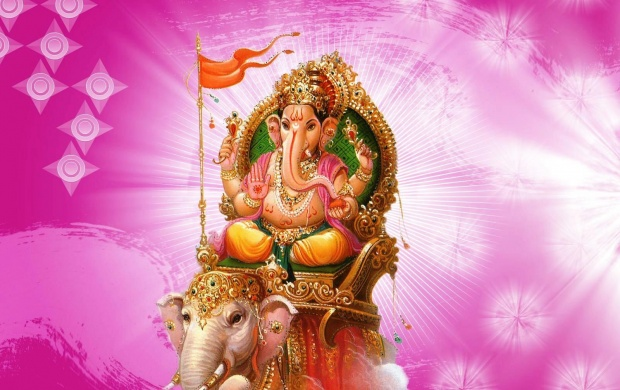 Lord Ganesha Sitting On Elephant (click to view)