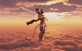 Lord Hanuman Flying